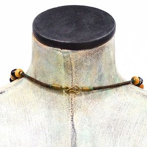 Vintage 70's Jewelry - VTG 70's Chunky Natural Wood and Ceramic Necklace